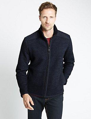 Tailored Fit Cotton Blend Fleece Top, INDIGO, catlanding