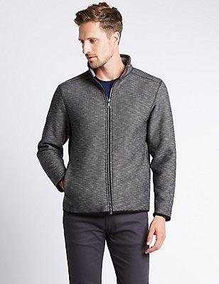 Textured Fleece Jacket, GREY MIX, catlanding