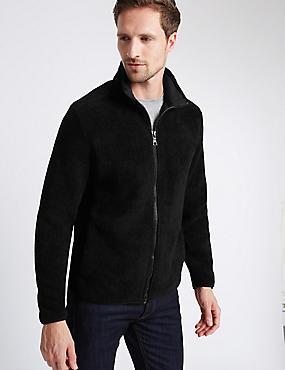 Textured Fleece Top, BLACK, catlanding