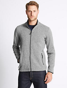 Textured Zipped Through Fleece Top, LIGHT GREY MIX, catlanding