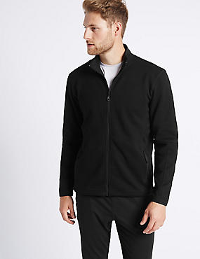 Textured Zipped Through Fleece Top, BLACK, catlanding
