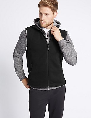 Textured Zipped Through Fleece Gilet, BLACK, catlanding