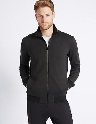 Textured Zipped Through Fleece Jacket, CHARCOAL MIX, catlanding