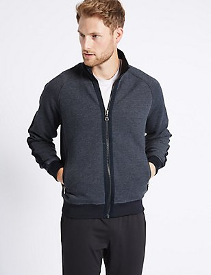 Cotton Rich Zipped Through Fleece Jacket, NAVY, catlanding