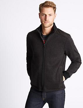 Textured Zipped Through Fleece Jacket, DARK GREY, catlanding
