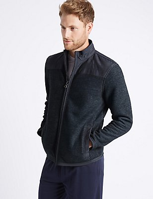 Textured Zipped Through Fleece Jacket, INDIGO, catlanding