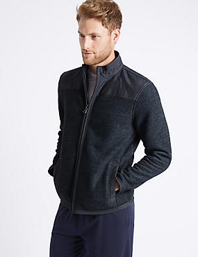 Textured Zipped Through Fleece Top, INDIGO, catlanding