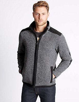 Textured Zipped Through Fleece Jacket, CHARCOAL MIX, catlanding