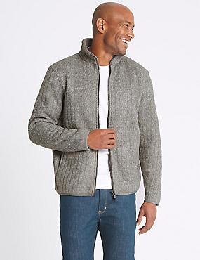 Textured Zipped Through Fleece Top, GREY MIX, catlanding