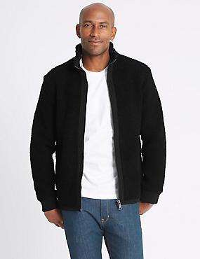 Textured Zipped Through Fleece Jacket, BLACK, catlanding