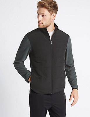 Zipped Through Fleece Jacket, BLACK MIX, catlanding