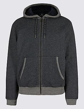 Pure Cotton Fleece Lined Hooded Jacket, DENIM MIX, catlanding