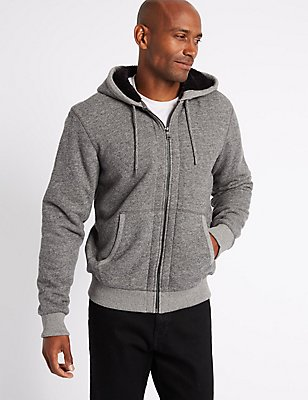 Pure Cotton Fleece Lined Hooded Jacket, GREY MIX, catlanding