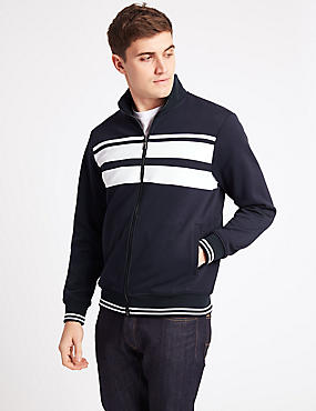 Cotton Blend Zip Through Jacket, NAVY, catlanding