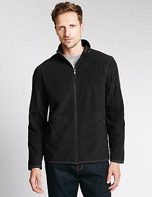 Zipped Fleece Top, BLACK, catlanding
