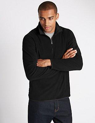 Half Zipped Fleece Top, BLACK, catlanding