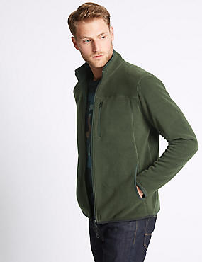 Pure Cotton Fleece Lined Jacket, KHAKI, catlanding