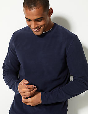 Crew Neck Fleece Top, NAVY, catlanding
