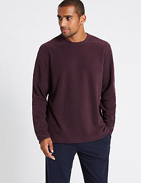 Crew Neck Fleece Top, CLARET, catlanding