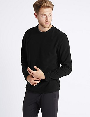 Crew Neck Fleece Top, BLACK, catlanding