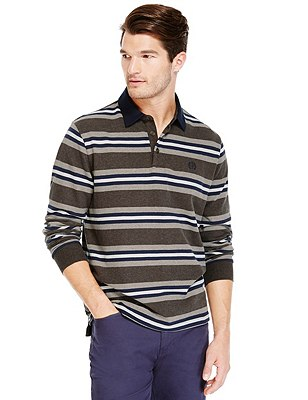Pure Cotton Soft Touch Striped Rugby Top, FAWN, catlanding