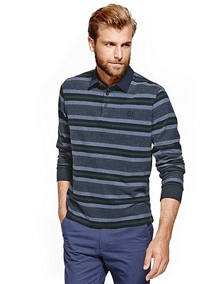 Pure Cotton Soft Touch Striped Rugby Top, DENIM, catlanding
