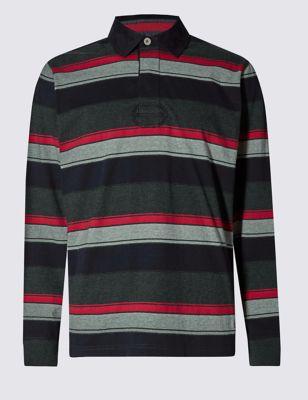 Рубашка-поло из чистого хлопка в широкую полоску регби