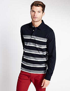 Cotton Rich Tailored Fit Striped Rugby Top, NAVY MIX, catlanding