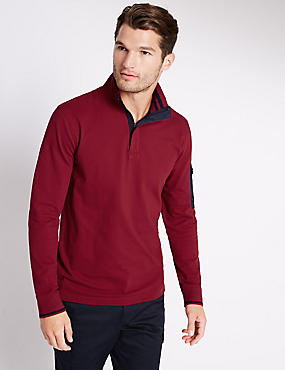 Cotton Rich Tailored Fit Stretch Rugby Top, RED, catlanding
