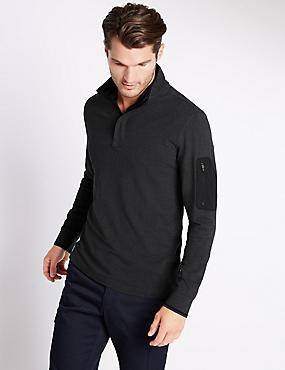 Cotton Rich Tailored Fit Stretch Rugby Top, CHARCOAL, catlanding