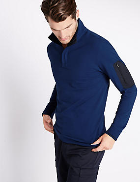 Cotton Rich Tailored Fit Stretch Rugby Top, INDIGO, catlanding