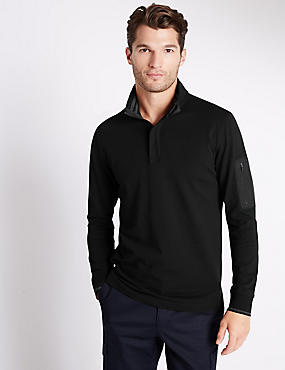 Cotton Rich Tailored Fit Stretch Rugby Top, BLACK, catlanding