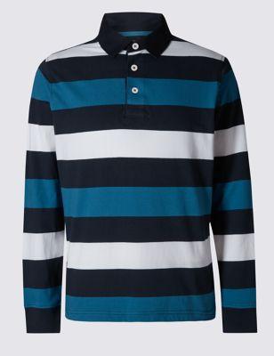 Рубашка регби Big & Tall из чистого хлопка в яркую полоску Blue Harbour T282646B
