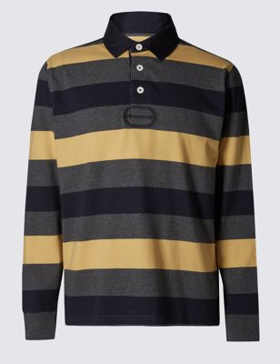 Рубашка регби Big & Tall из чистого хлопка в яркую полоску