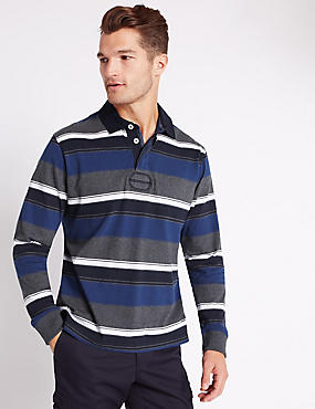 Pure Cotton Striped Rugby Top, BLUE MIX, catlanding