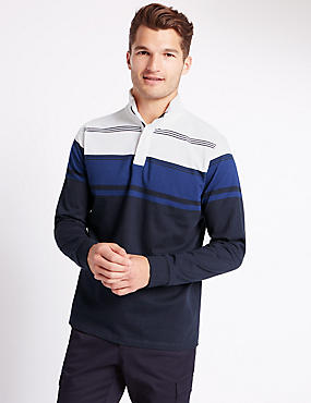 Tailored Fit Pure Cotton Striped Rugby Top, NAVY MIX, catlanding