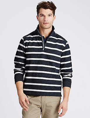 Cotton Rich Striped Rugby Top, NAVY MIX, catlanding