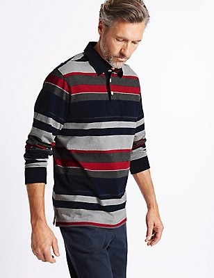 Pure Cotton Striped Rugby Top, RED MIX, catlanding