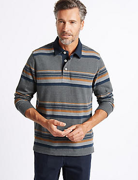 Big & Tall Pure Cotton Striped Rugby Top, GREY MIX, catlanding