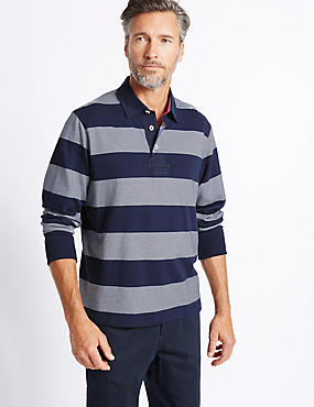 Pure Cotton Striped Rugby Top, NAVY MIX, catlanding