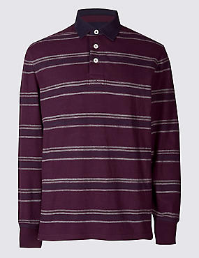 Pure Cotton Striped Rugby Top, BURGUNDY, catlanding