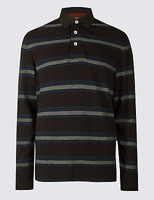 Pure Cotton Striped Rugby Top, , catlanding
