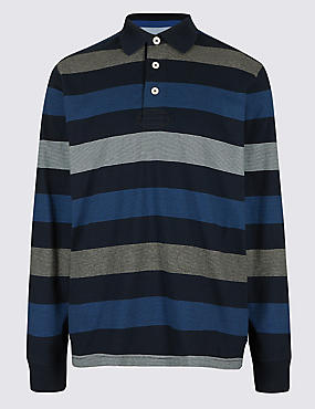 Big & Tall Pure Cotton Striped Rugby Top, NAVY MIX, catlanding