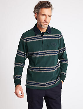 Pure Cotton Striped Rugby Top, BOTTLE GREEN, catlanding