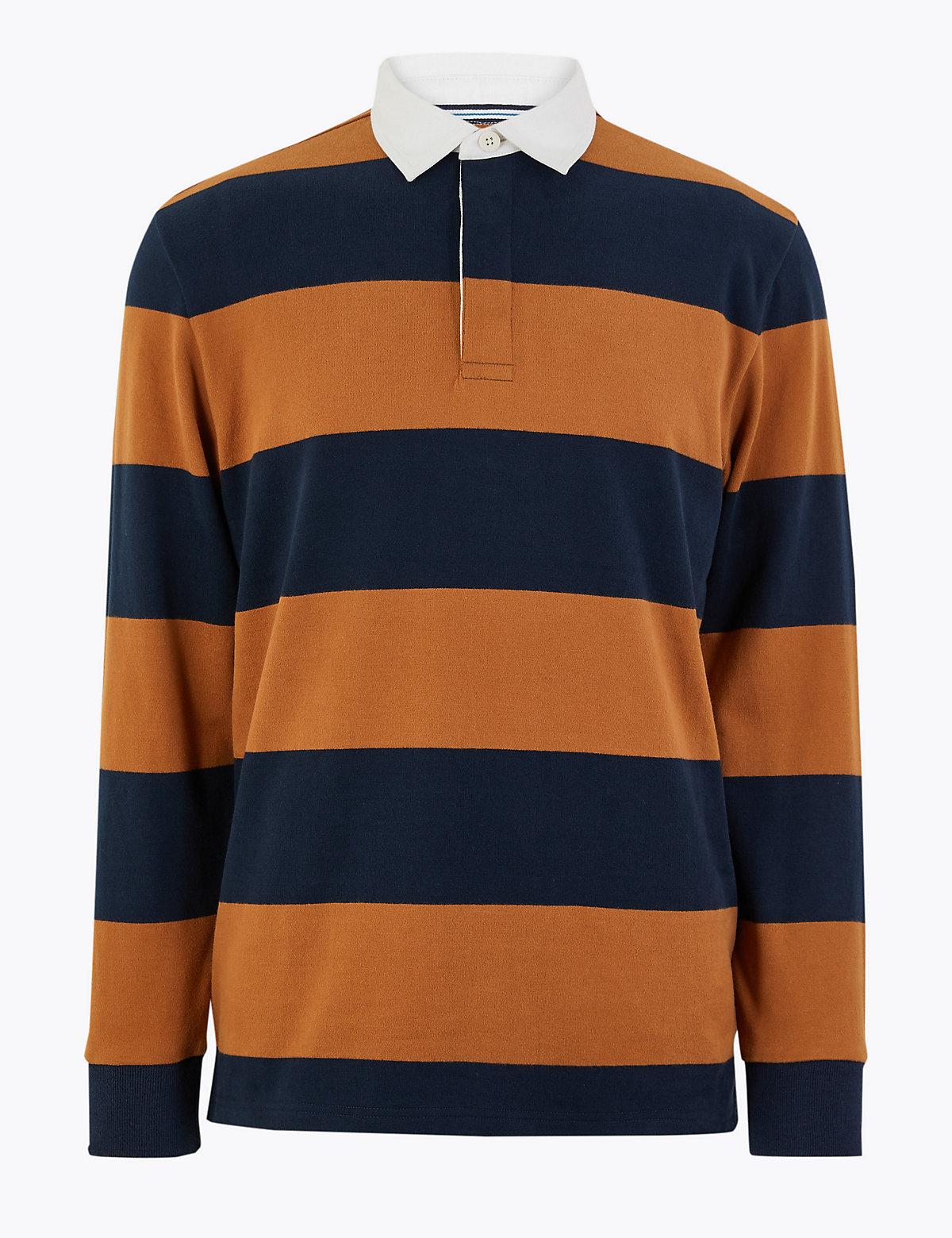 Рубашка регби в полоску из 100%-го чистого хлопка