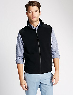 Tailored Fit Sports Gilet Fleece Top, BLACK, catlanding