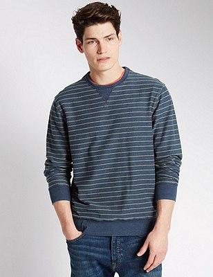 Pure Cotton Tailored Fit Striped Sweatshirt, INDIGO MIX, catlanding
