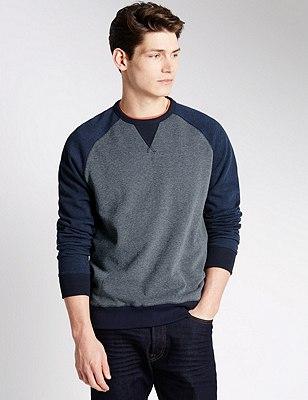Pure Cotton Marl Textured Sweatshirt, INDIGO, catlanding
