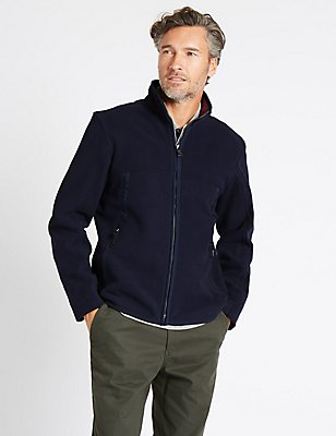Zipped Through Fleece Jacket, NAVY, catlanding