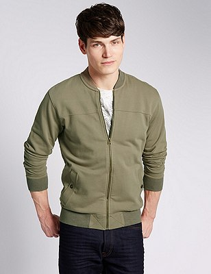 Pure Cotton Tailored Fit Bomber Sweatshirt, KHAKI, catlanding